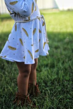 White & Gold Dress for Toddler Girl - Golden Feathers