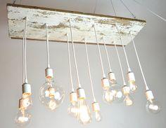 White Texan Barnwood Chandelier with edison bulbs by urbanchandy