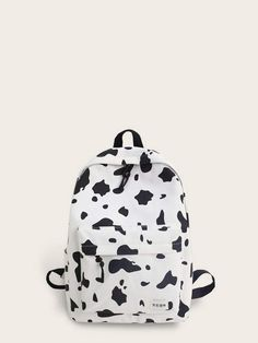 Cow Print Pocket Front Backpack Black and White Hunting Backpacks, Day Backpacks, Backpacks For Sale, White Backpack, Backpack Purse, Fashion Backpack, Cow Print, Shopping Bag, Black And White