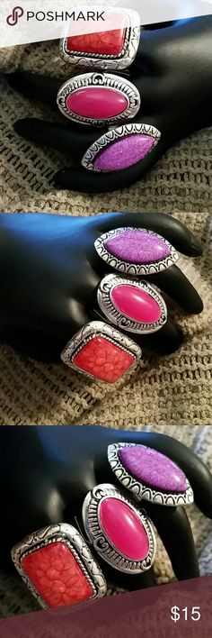 Bohemian Oversized Costume Rings Bundle of 3 Pink Lot of 3 adjustable rings. Costume jewelry. As shown in the photo. Brand new with tags. Unbranded  Jewelry Rings