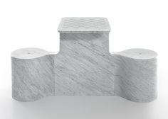 Carrara marble furniture for Marsotto Edizioni presented in Milan
