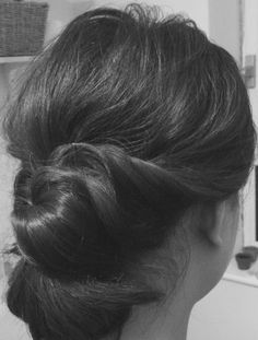 Simple up-do hair, perfect for any occasion.