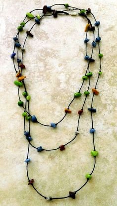 Colorful Stone Chips Necklace Rustic Necklace by FrancaandNen