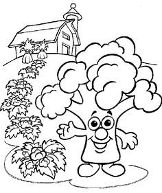 broccoli patch coloring page for kids