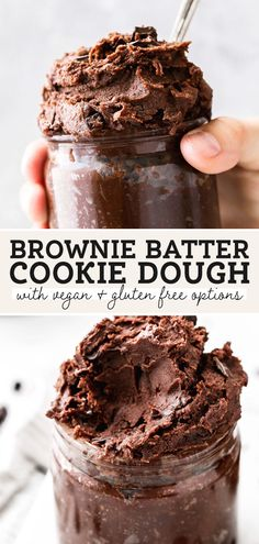 This edible brownie batter cookie dough is the best of both worlds! You get the creamy texture of cookie dough with the rich flavor of brownie batter. I've even included dairy free (vegan) and gluten free options! #browniebatter #ediblecookiedough #ediblebrowniebatter #veganrecipes #butternutbakery Gluten Free Cookie Dough, Cookie Dough Recipes, Fun Baking Recipes, Sweets Recipes, Vegan Cookie Dough, Edible Cookie Dough, Edible Chocolate Cookie Dough Recipe, Brownie Cookie Dough, Vegan Cookie Recipe