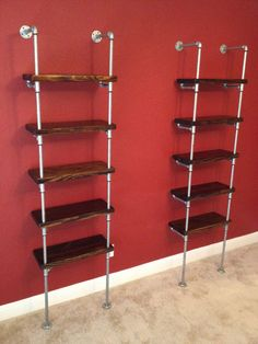 Industrial Pipe Shelving Unit Furniture- Wide Industrial Urban storage shelving unit wall shelf bookcase with optional reclaimed wood Industrial Shelving Units, Industrial Cafe, Modern Industrial, Pipe Shelving, Storage Shelving, Industrial Bathroom, Industrial Farmhouse, Pvc Pipe Storage, Corner Shelving