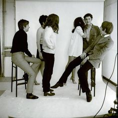 Alan Rickman, Nick Cudworth  & some mates at Chelsea School of Art in the 60s - photoshoot by Alastair Campbell