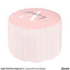 Light Pink Herringbone Custom Monogram