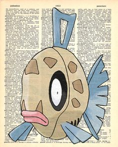 Feebas Pokemon Dictionary Art Print by MollyMuffinsPrints on Etsy