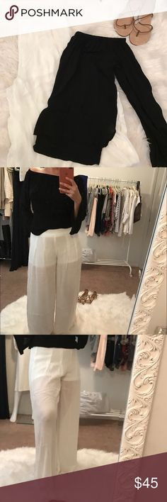 """Gorgeous High Waist Off White Palazzo Pants Gorgeous Lightweight Off White High Waist Palazzo Pants.  So chic and lightweight a necessary piece for the season.  Super soft rayon material.  Inseam is approximately 29"""" Pants Wide Leg"""