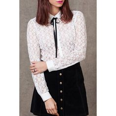 Collared See-Through Lace Shirt