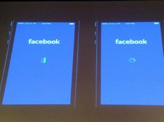 """Facebook did A/B testing to determine that users blamed FB on left, iOS on right, for slowness."""