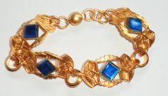 """Vintage Antique Bright Gilt Brass & Faceted Blue Glass Art Deco Bracelet  7"""""""
