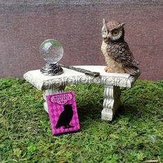 Fairy Garden Miniature Owl Wizard's Wand Crystal Ball & Book of Magical Creatures Set - Harry Potter Hogwarts inspired Fantastic Beasts Set