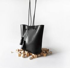 Traversing Black Leather Tote (119.00 USD) by CloudAndRock