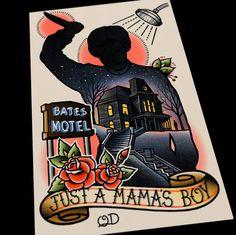 Bates Motel Tattoo Flash 11x17 by ParlorTattooPrints on Etsy