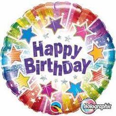 18'' Birthday Radiant Stars Foil -Foil Balloon-Packaged (5ct)