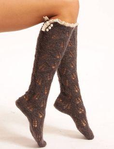 Mohair Lacy Knee Socks  by Lowie