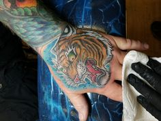 Tiger tattoo by Paul instagram.com/@jerzeydevil77