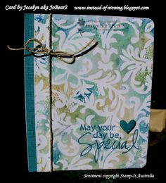 Used a Cuttlebug Victoria embossing folder randomly applied Antique Linen, Tumbled Glass, Bundled Sage and Faded Jeans Distress Inks. Sprayed water onto the folder using a Ranger Mini Mister, lay smooth white cardstock on top. left cardstock for a minute pressed down with fingers so all cardstock received ink then lifted it off.   Where  a darker pool of colour that stood out a bit too much, I simply used a tiny piece of paper towel to blot it up a little.  I left the cardstock to dry by…