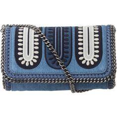Stella Mccartney Denim Embroidered Clutch (15 930 ZAR) ❤ liked on Polyvore featuring bags, handbags, clutches, purses, bolsas, accessories, stella mccartney purses, blue clutches, denim handbags and denim purse