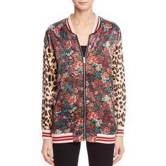 Scotch & Soda Pattern Block Bomber Jacket (810 SEK) ❤ liked on Polyvore featuring outerwear, jackets, combo a, colorblock bomber jacket, flight jacket, blouson jacket, floral-print bomber jackets and colorblock jackets
