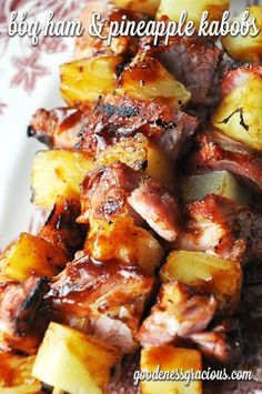 Super easy BBQ Ham Pineapple Kabobs - while these weren't a meal that completely blew my mind, they were a yummy way to use up leftover ham. Grilling Recipes, Pork Recipes, Cooking Recipes, Healthy Recipes, Recipes With Ham, Grilling Ideas, Kabob Recipes, Amish Recipes, Dutch Recipes