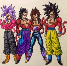 Right to left - Goku, Vegeta, Gohan and future Trunks - SSJ4