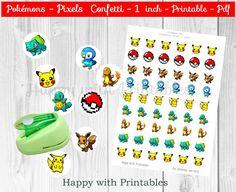 Pokemon GO Pixel Confetti - Pokemons Bottle cap images - Pokemon GO - Pokémon GO planner stickers - Pokemon party - Pokémon printable - 1 in door HappywithPrintables op Etsy