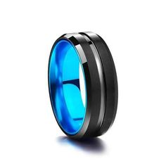Stream Black and Sky Blue Tungsten Carbide Ring Black Tungsten Rings, Tungsten Carbide Rings, Titanium Rings, Kids Rings, Rings For Men, Fashion Jewelry, Women Jewelry, Silicone Rings, Moissanite Rings