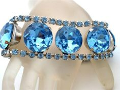Vintage Wide Blue Rhinestone Bracelet Silver High End Prong Set Christmas 7"