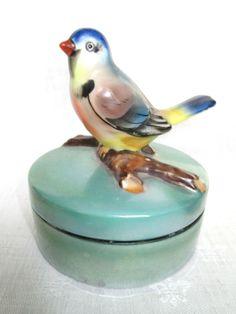 NORITAKE RED MARK Hand Painted DRESSER JAR Figural Blue Bird Handle Luster 1918