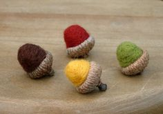Acorn Decorations - Needle Felted Acorns - Autumn Home Decor - Waldorf Ornaments - Thanksgiving Ornaments on Etsy, $8.00