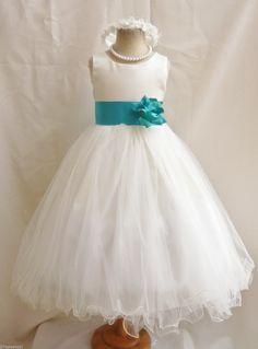Ivory Jade Teal Green Dress | Flower Girl Dress | $38