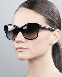 Oversize Cat-Eye Sunglasses, Black by Stella McCartney at Neiman Marcus.
