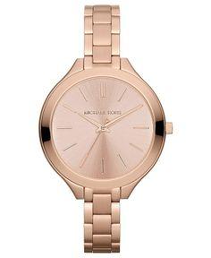 Michael Kors Watch, Women's Slim Runway Rose Gold
