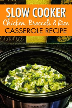 Enjoy this slow cooker chicken broccoli and rice casserole recipe on your dairy free diet. It takes just minutes to prep in your crock pot so it's easy to add to your weekly crockpot chicken meal plan for easy weeknight meals. Top Crockpot Recipes, Crockpot Chicken Healthy, Slow Cooker Chicken, Slow Cooker Recipes, Crockpot Meals, Rice Casserole, Casserole Recipes, Chicken Recipes Dairy Free, Free Recipes