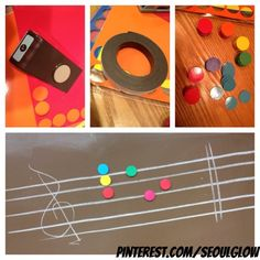 Colored dots that are magnetic that fit on a staffed board in your elementary music classroom... Colors match boomwhackers and handbells. A lot cheaper then buying the already sold ones online!