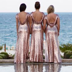 The Chloe sequined bridesmaid dress is by far one of my favorite dress on the site. The full length dress is sure to stun guests in Matte Rose Gold or any of the 13 colors. Also available in a cocktail length.  http://wedding.shoprevelry.com/Revelry-sequin-bridesmaid-dress-chloe-maxi-dress/