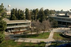 A view of campus from the top of the Henry Madden Library