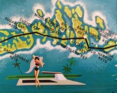 Print is a small section of a vintage 1950s Key West, Florida travel guide. The…