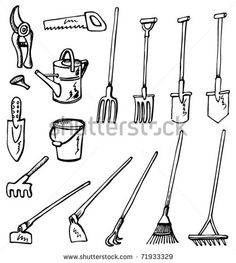 Detailed Drawings of Gardening tools, all elements are in separate ...