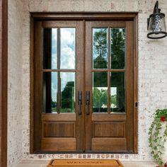 True Divided Lite Double Entry Door and Sizes) Double Front Doors, Wooden Front Doors, Metal Doors, Glass Doors, Modern Farmhouse Exterior, Modern Farmhouse Style, Door Sweep, Wood Exterior Door, Aluminium Doors