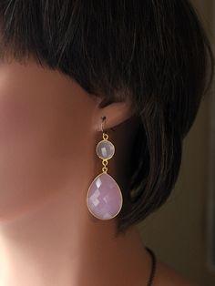 Large Double Drop Rose Quartz Earrings, Light Pink, Long Pink Earrings, Dual Drop, Rose Quartz Jewelry, Pantone 2016 by ByGerene on Etsy https://www.etsy.com/listing/289966033/large-double-drop-rose-quartz-earrings