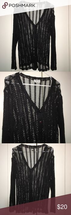 Black open weave front button cardigan EUC long sleeve, black, V neck, button front, open weave cardigan. Women's size M by Chibino. No rips or snags. Really pretty. 100% rayon, hand wash Chibino Tops