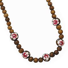 """18"""" + 3"""" Painted Flower Wood Bead Necklace , HOT CASUAL LOOK!! by Jo's Fashion Accessories on Opensky"""