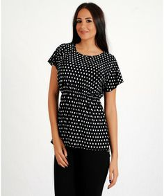 Woman's White & Black Poke Dot Top