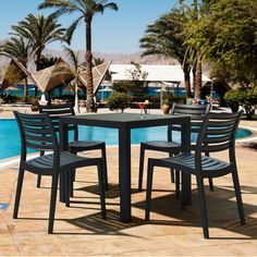 Compamia ISP1641S Ares 5 Piece Resin Outdoor Dining Set | ATG Stores