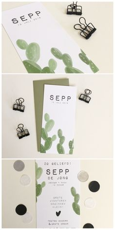 Stoer geboortekaartje met cactus. Aan te passen naar wens en smaak. www.zojoann.nl