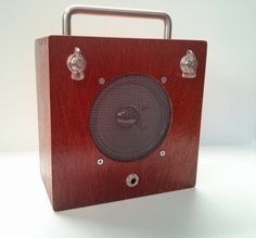 Hand built retro guitar amplifier in Acid wooden by gabepedals